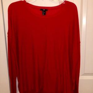 H&M Red Oversized Knit Sweater